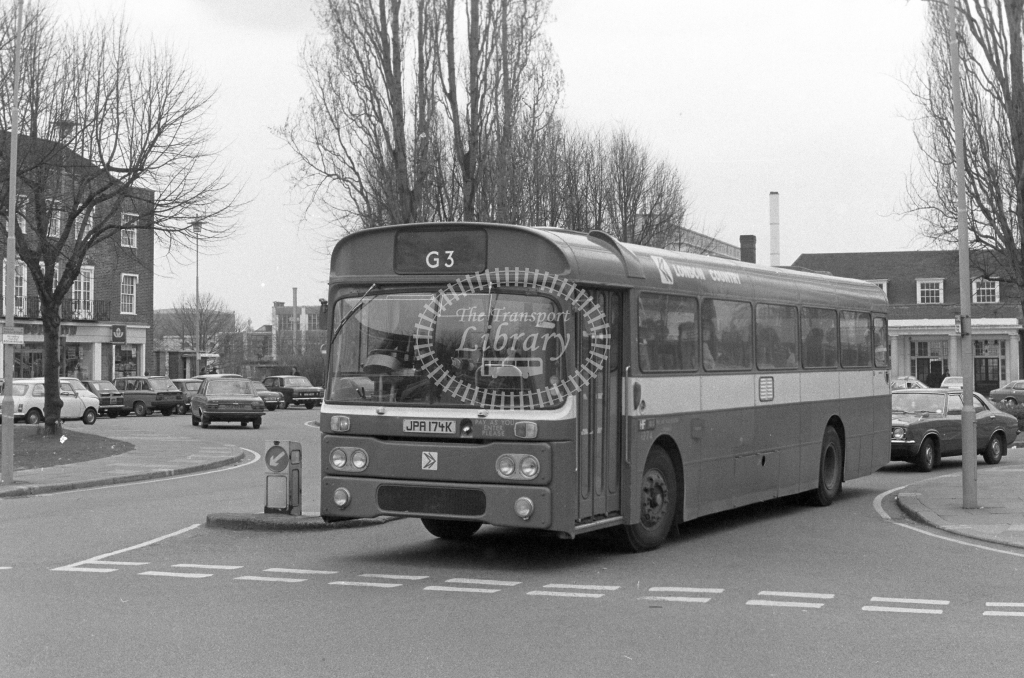 London Country AEC Reliance RP74  on route G3 JPA174K  at Welwyn Garden City  in 1980 - JGS Smith