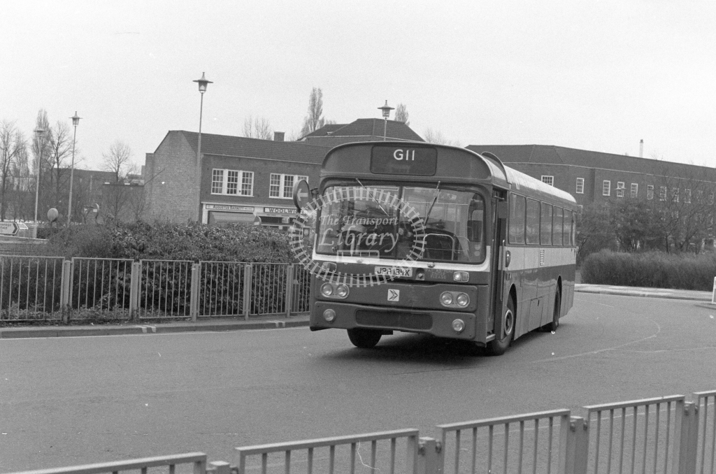 London Country AEC Reliance RP84  on route G11 JPA184K  at Welwyn Garden City  in 1980 - JGS Smith