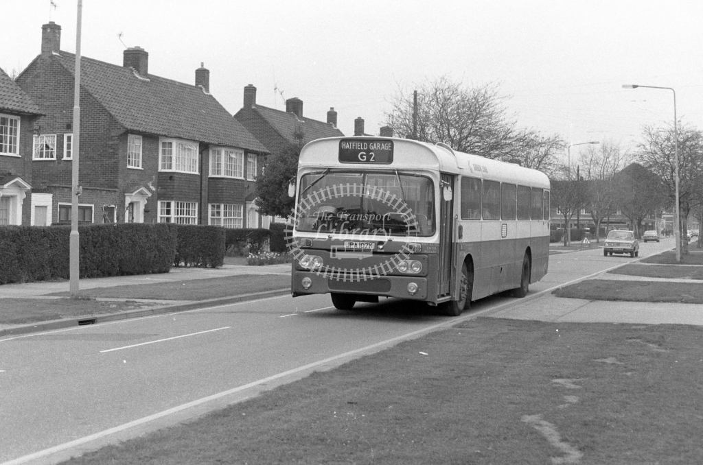 London Country AEC Reliance RP7  on route G2 JPA107K  at Welwyn Garden City  in 1980 - JGS Smith