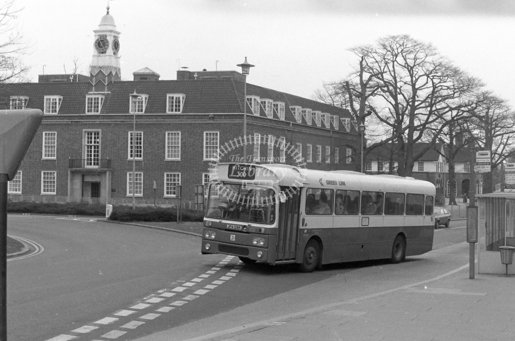 London Country AEC Reliance RP28  on route 300 JPA128K  at Welwyn Garden City  in 1980 - JGS Smith