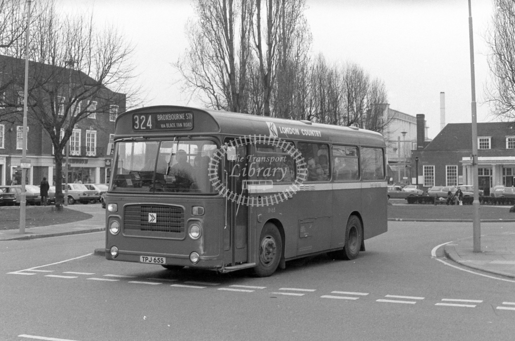 London Country Bristol LH BN65  on route 324 TPJ65S  at Welwyn Garden City  in 1980 - JGS Smith