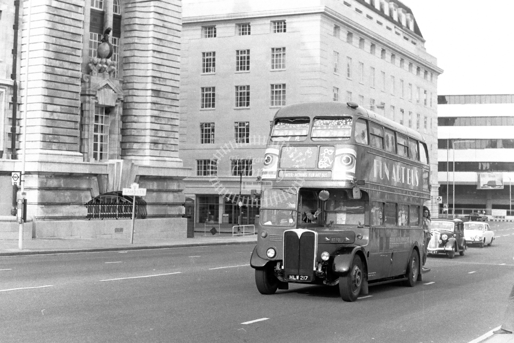 Unknown Operator AEC Regent RT230 HLW217  at Westminster Bridge  in 1970s - JGS Smith