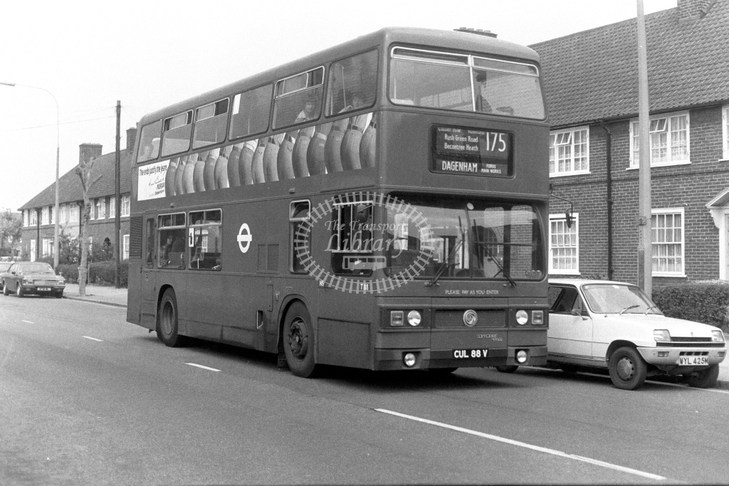London Transport Leyland Titan T88  on route 175 CUL88V  at Dagenham  in 1970s - JGS Smith