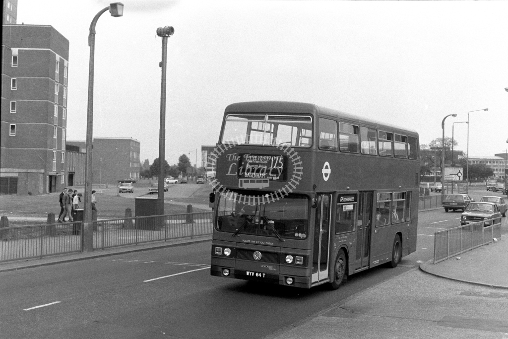 London Transport Leyland Titan T64  on route 175 WYV64T  in 1970s - JGS Smith