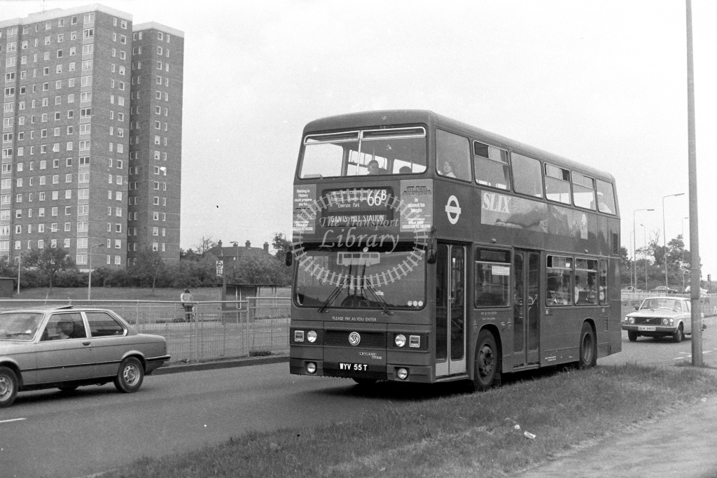London Transport Leyland Titan T55  on route 66B WYV55T  in 1970s - JGS Smith