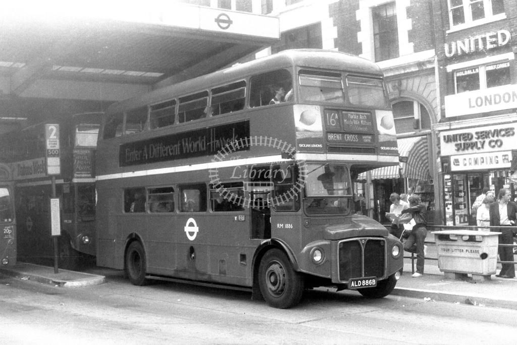 London Transport AEC Routemaster RM1886  on route 16A ALD886B  at Victoria  in 1970s - JGS Smith