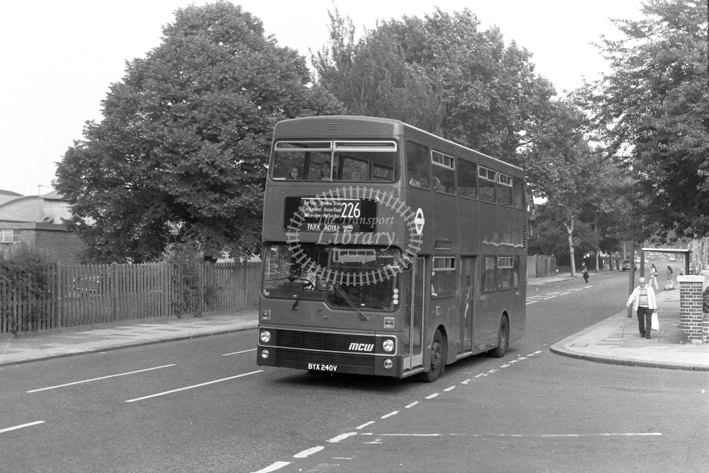 London Transport MCW Metrobus M240  on route 226 BYX240V  in 1970s - JGS Smith