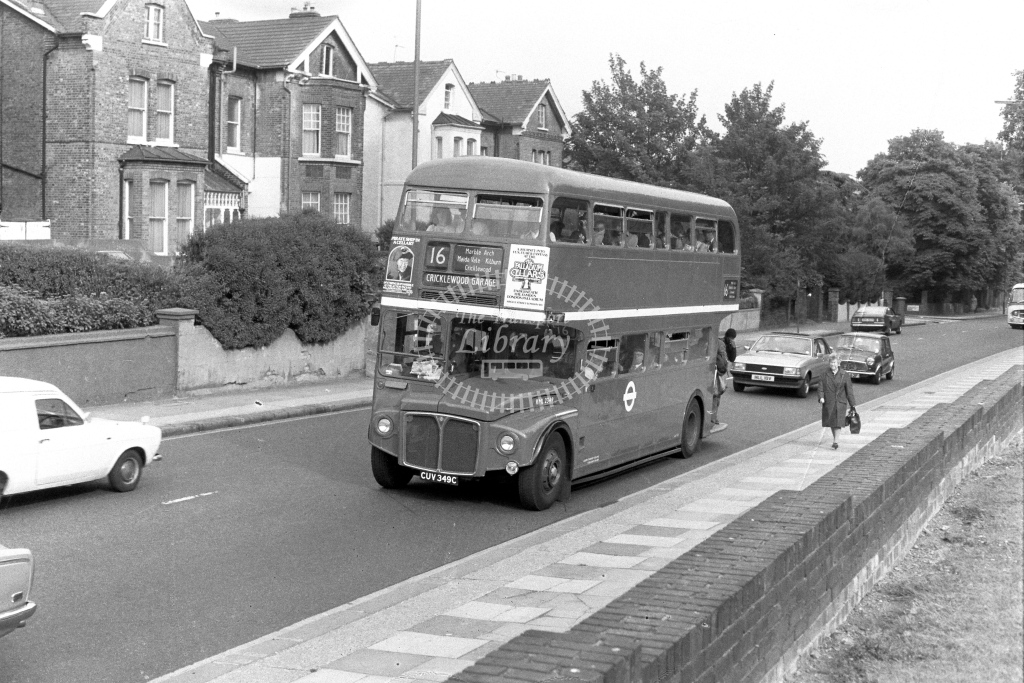 London Transport AEC Routemaster RML2349  on route 16 CUV349C  at Shoot Up Hill  in 1970s - JGS Smith