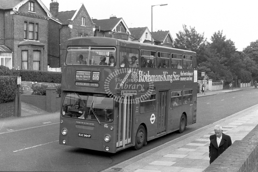 London Transport Daimler Fleetline DMS1964  on route 616 KUC964P  at Shoot Up Hill  in 1970s - JGS Smith