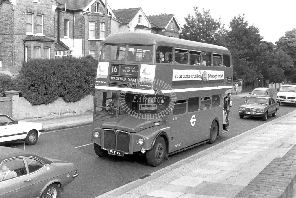 London Transport AEC Routemaster RM15  on route 16 VLT15  at Shoot Up Hill  in 1970s - JGS Smith