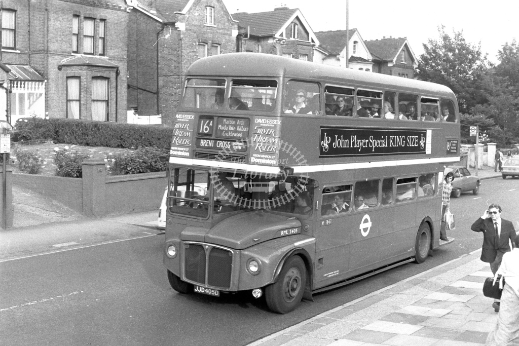London Transport AEC Routemaster RML2405  on route 16A JJD405D  at Shoot Up Hill  in 1970s - JGS Smith