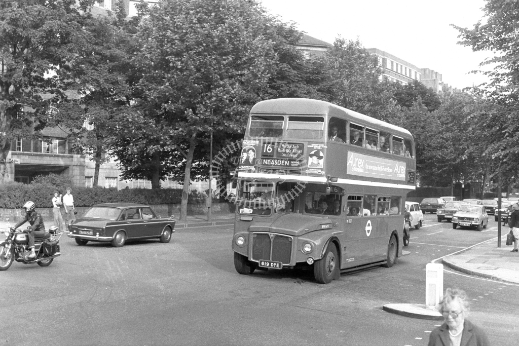 London Transport AEC Routemaster RM1619  on route 16 619DYE  at Maida Vale  in 1970s - JGS Smith