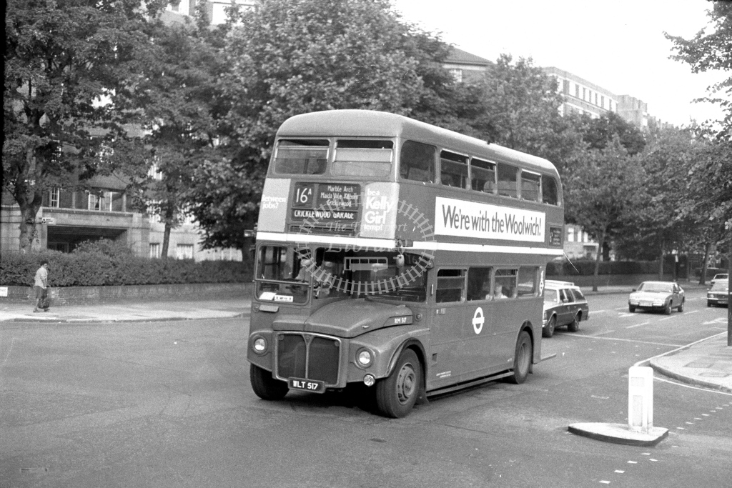 London Transport AEC Routemaster RM517  on route 16A WLT517  at Maida Vale  in 1970s - JGS Smith