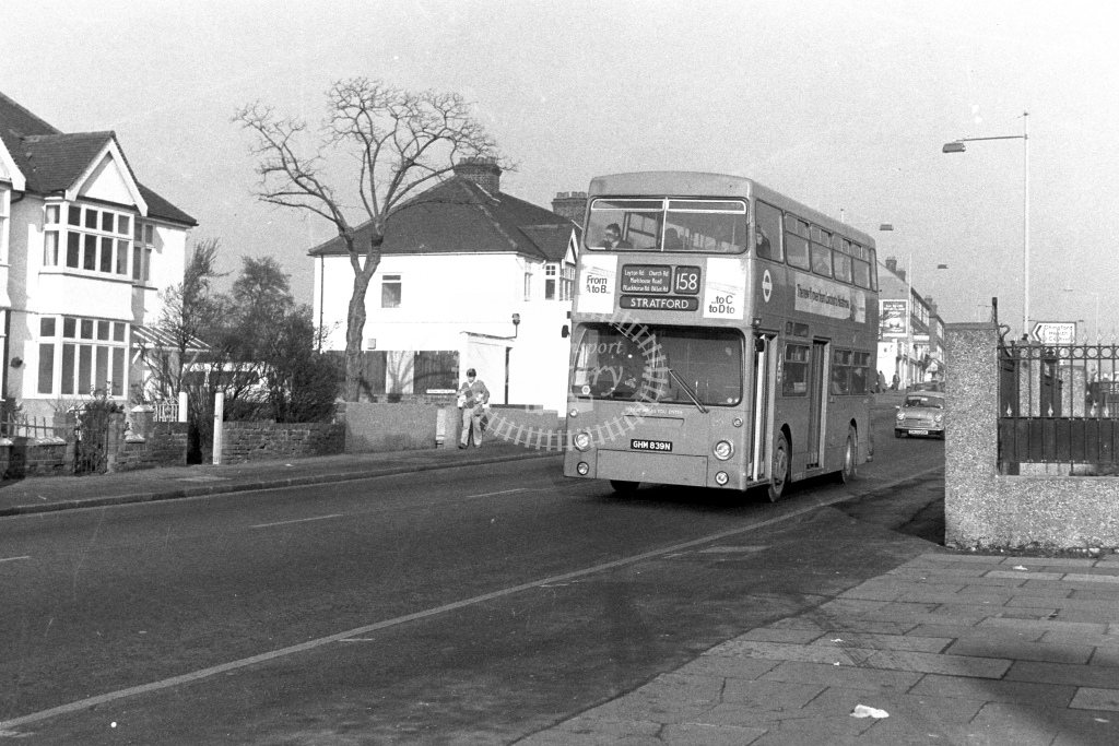 London Transport Daimler Fleetline DMS1839  on route 158 GHM839N  at Chingford  in 1980s - JGS Smith