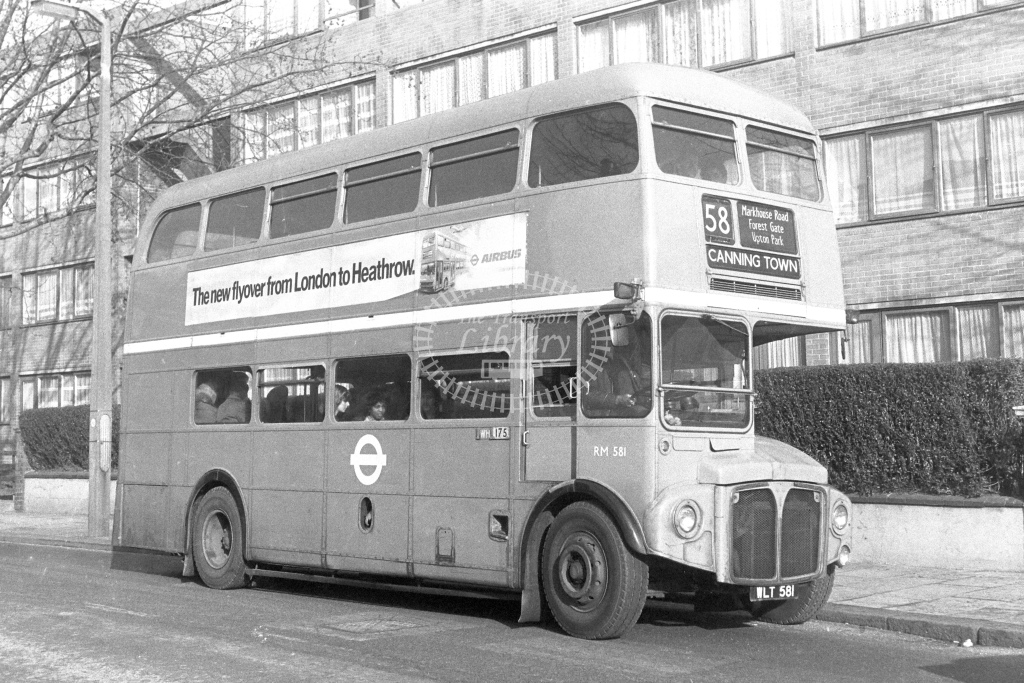 London Transport AEC Routemaster RM581  on route 58 WLT581  in 1980s - JGS Smith