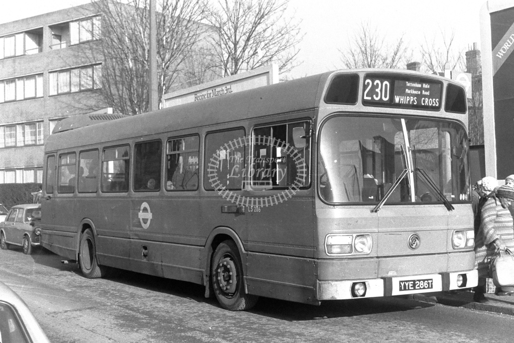 London Transport Leyland National LS286  on route 230 YYE286T  in 1980s - JGS Smith