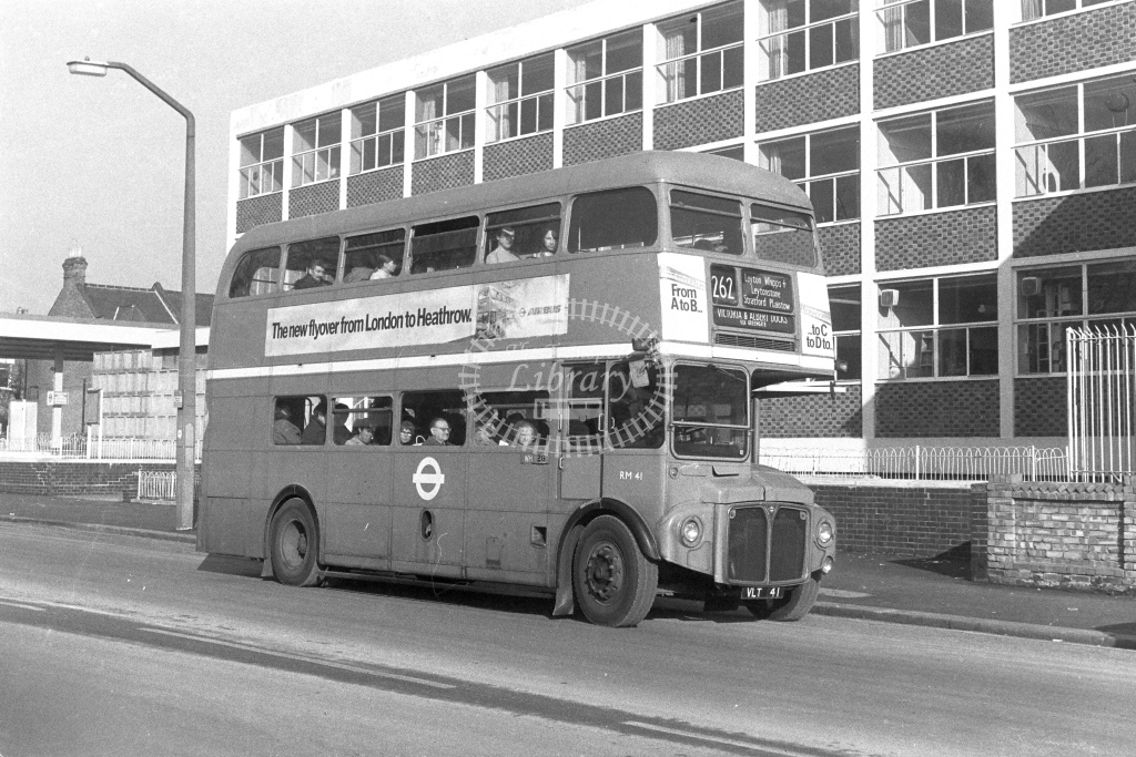 London Transport AEC Routemaster RM41  on route 262 VLT41  at Walthamstow  in 1980s - JGS Smith