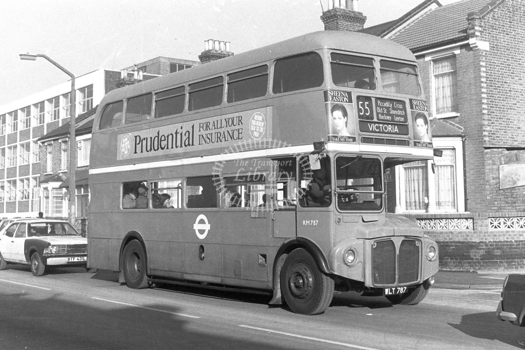 London Transport AEC Routemaster RM787  on route 55 WLT787  at Walthamstow  in 1980s - JGS Smith