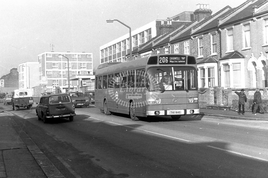 London Transport Leyland National LS164  on route 206 THX164S  at Walthamstow  in 1980s - JGS Smith
