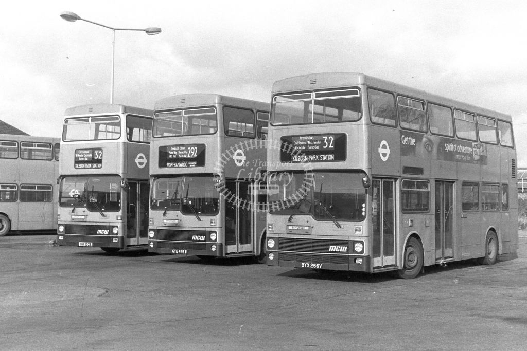 London Transport MCW Metrobus M266  on route 32 BYX266V  at Edgware Station  in 1980s - JGS Smith