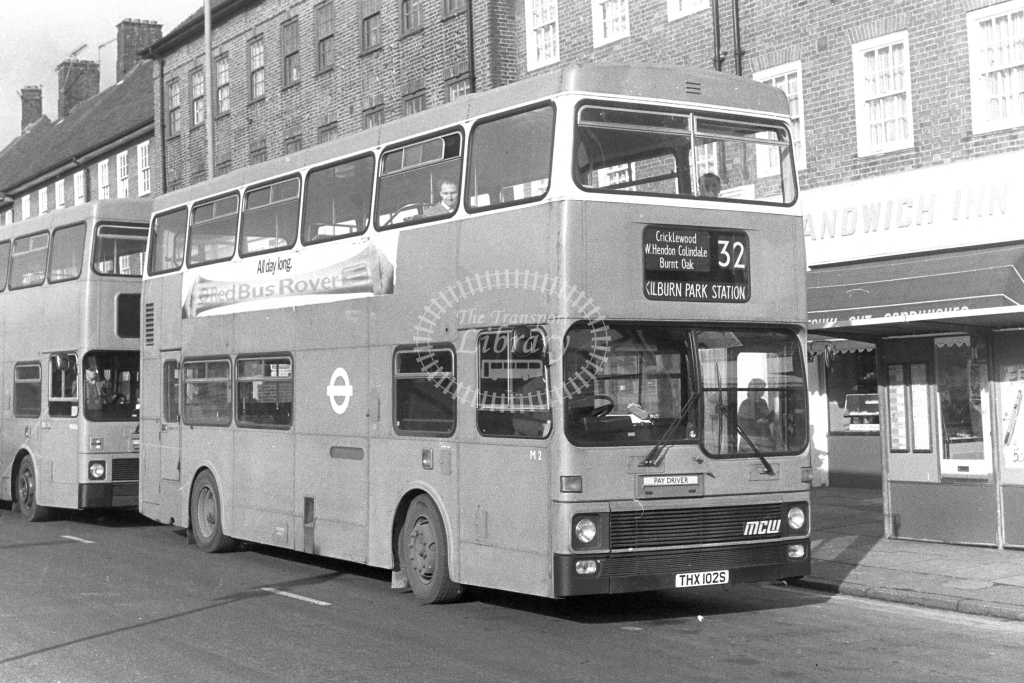 London Transport MCW Metrobus M2  on route 32 THX102S  at Edgware   in 1980s - JGS Smith