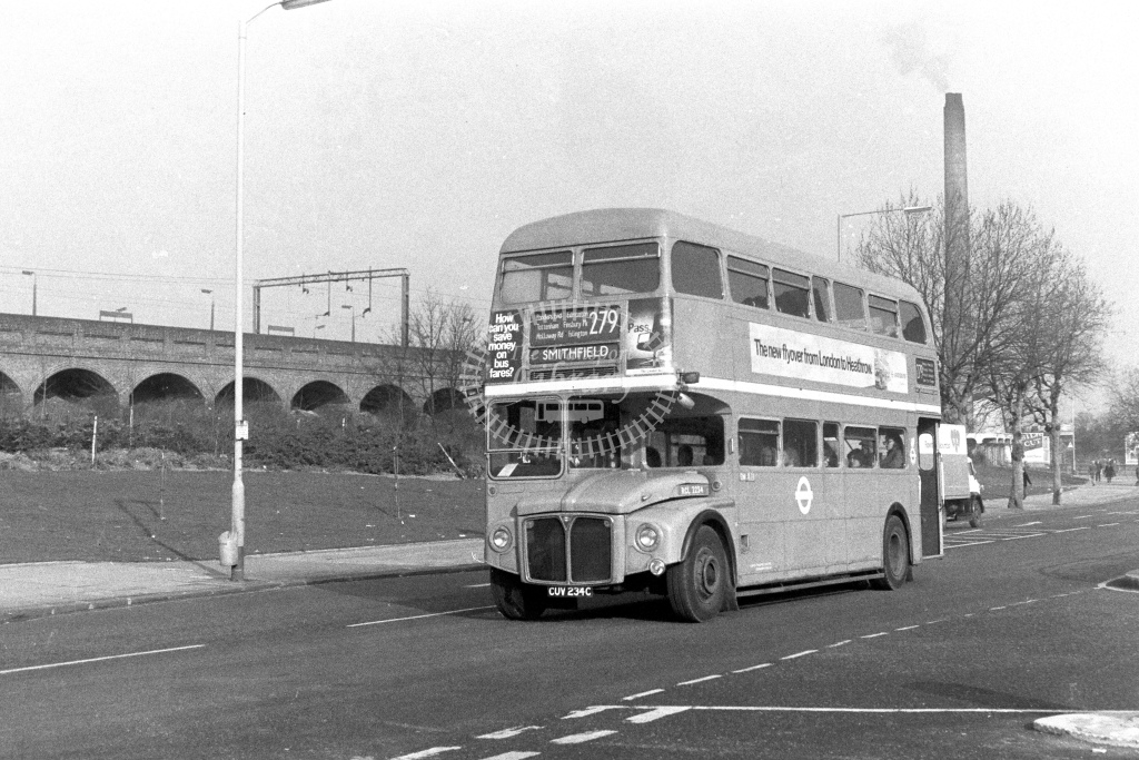 London Transport AEC Routemaster RCL2234  on route 279 CUV234C  at Lower Edmonton  in 1980s - JGS Smith