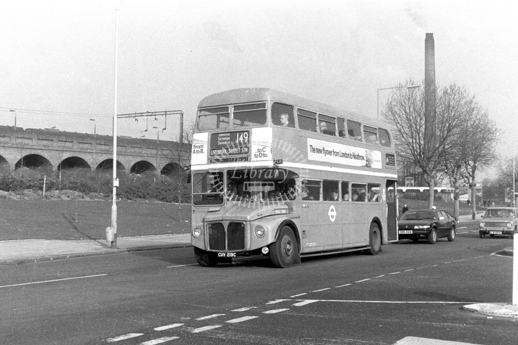 London Transport AEC Routemaster RCL2219  on route 149 CUV219C  at Lower Edmonton  in 1980s - JGS Smith