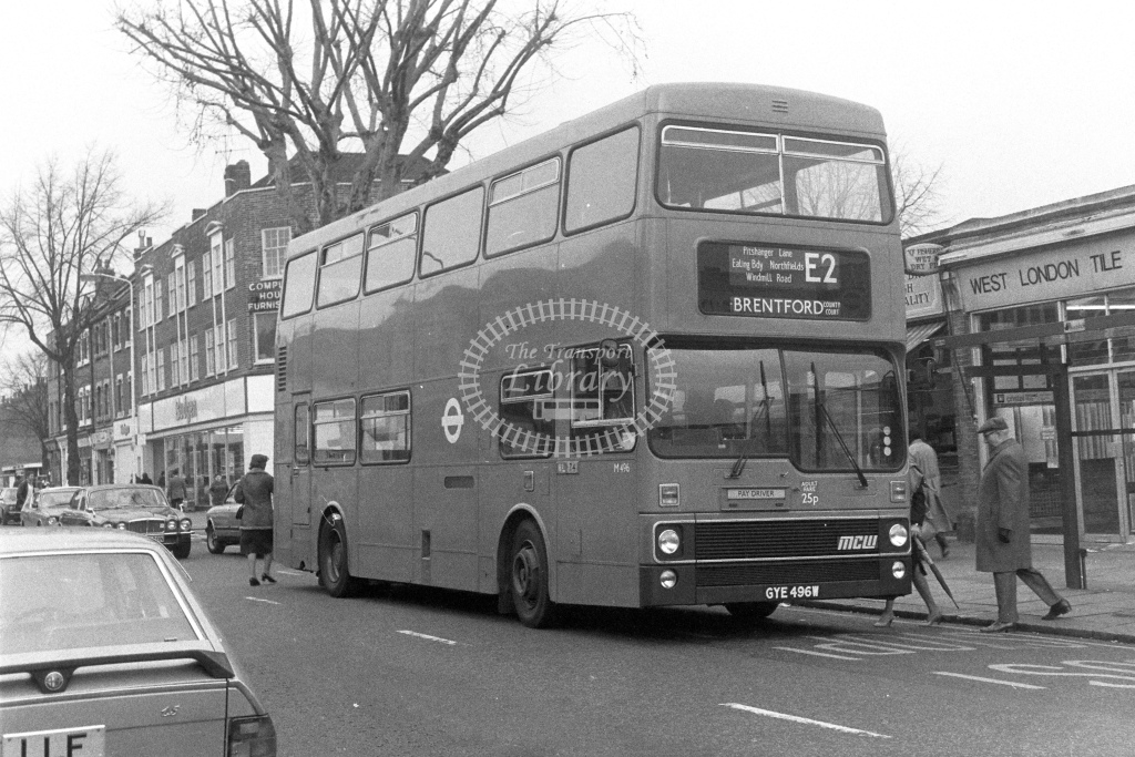 London Transport MCW Metrobus M496  on route E2 GYE496W  in 1980s - JGS Smith