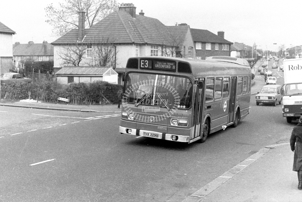 London Transport Leyland National LS229  on route E3 THX229S  at Ealing  in 1980s - JGS Smith