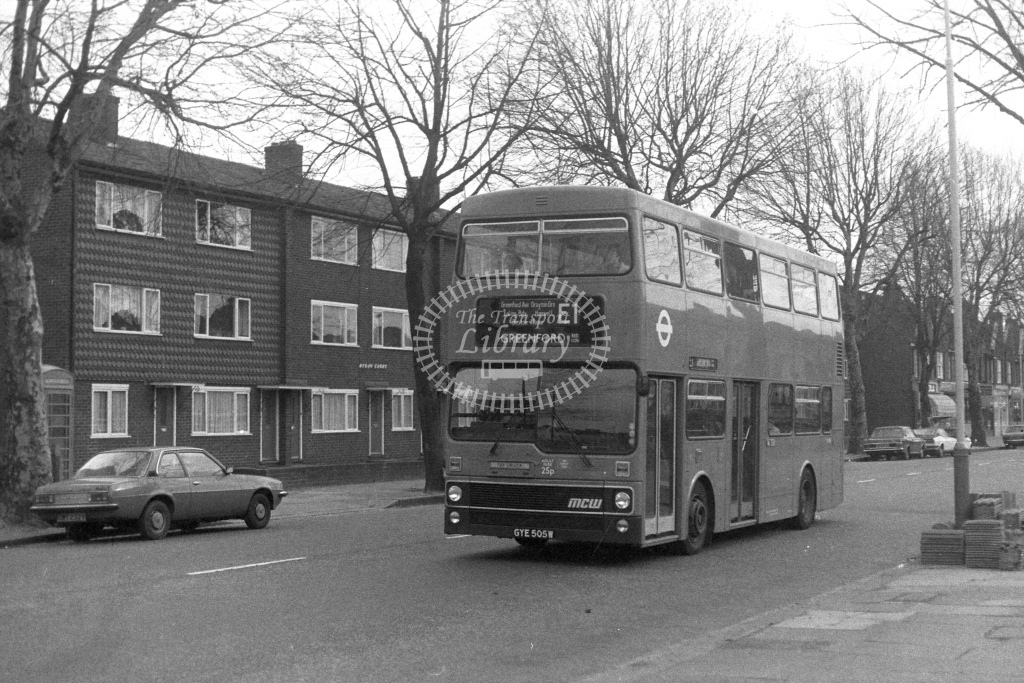 London Transport MCW Metrobus M505  on route E1 GYE505W  at Hanwell  in 1980s - JGS Smith