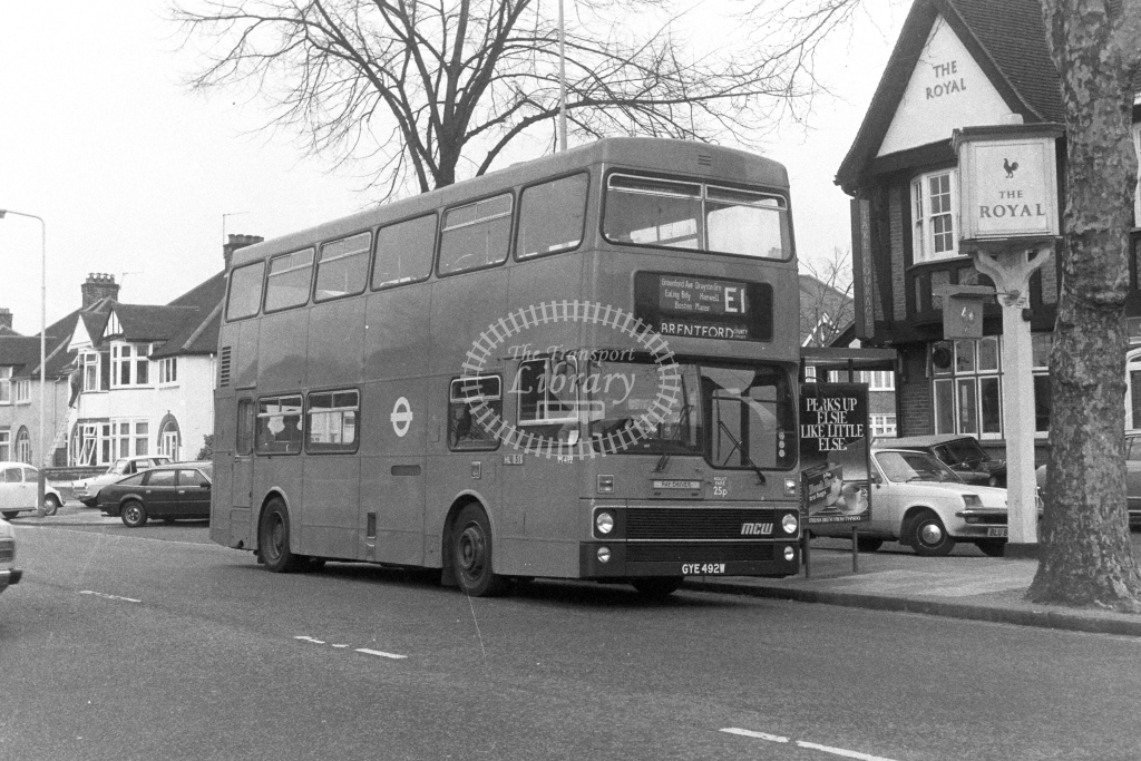 London Transport MCW Metrobus M492  on route E1 GYE492W  at Hanwell  in 1980s - JGS Smith