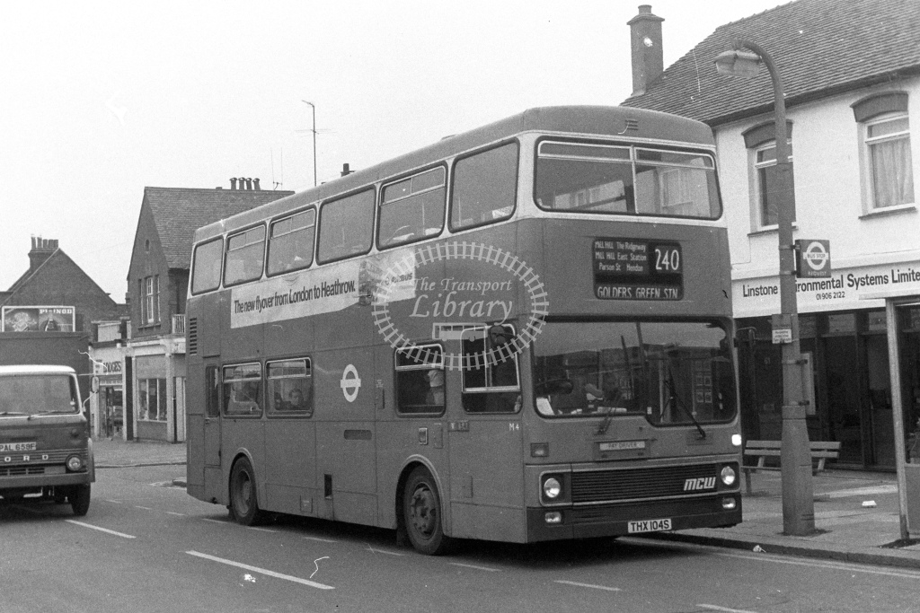 London Transport MCW Metrobus M4  on route 240 THX104S  in 1980s - JGS Smith