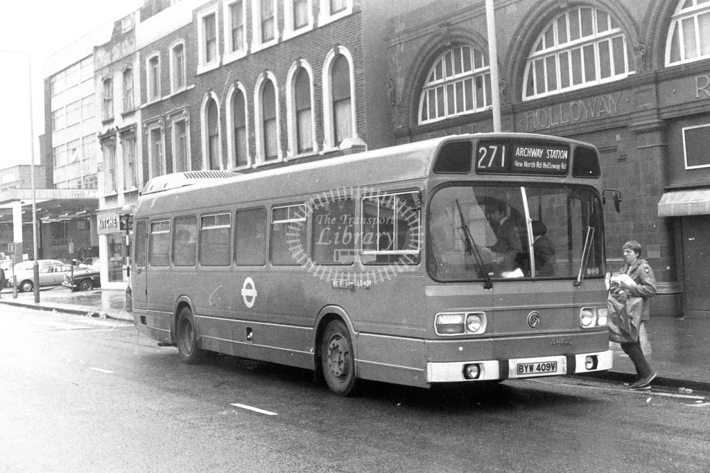 London Transport Leyland National LS409  on route 271 BYW409V  at Holloway  in 1980s - JGS Smith