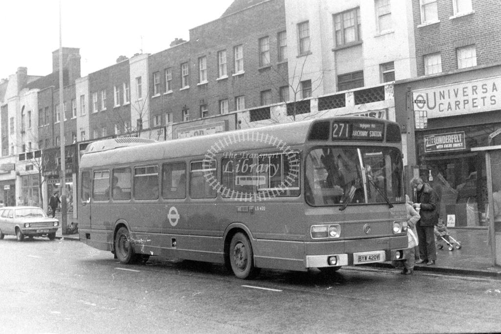 London Transport Leyland National LS420  on route 271 BYW420V  at Holloway  in 1980s - JGS Smith