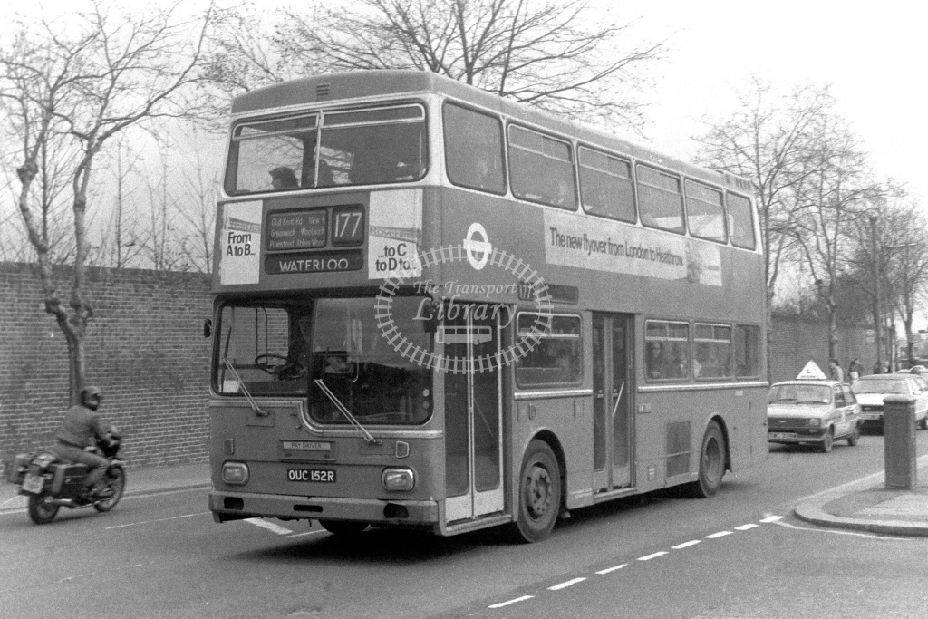 London Transport Scania BR111 MD152  on route 177 OUC152R  at Woolwich  in 1980s - JGS Smith