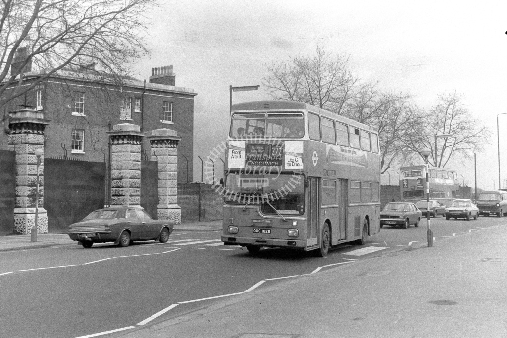 London Transport Scania BR111 MD162  on route 272 OUC162R  at Woolwich  in 1980s - JGS Smith