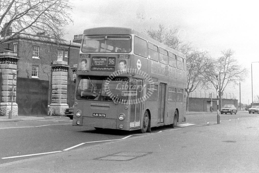 London Transport Leyland Fleetline DMS2367  on route 96 OJD367R  at Woolwich  in 1980s - JGS Smith