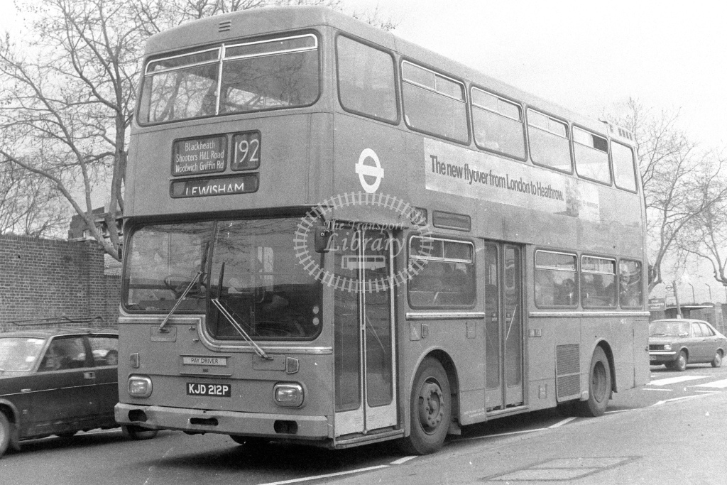 London Transport Scania BR111 MD12  on route 192 KJD212P  at Woolwich  in 1980s - JGS Smith