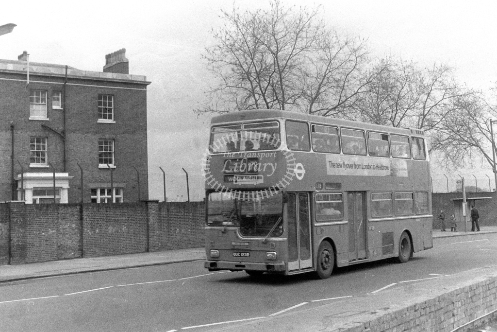 London Transport Scania BR111 MD123  on route 178 OUC123R  at Woolwich  in 1980s - JGS Smith