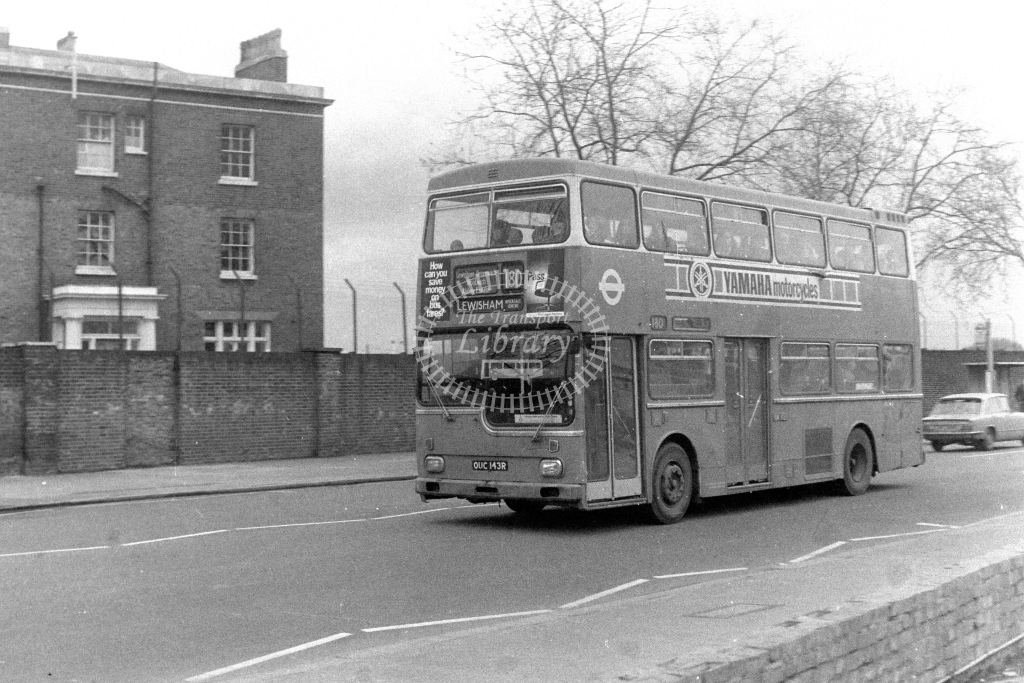 London Transport Scania BR111 MD143  on route 180 OUC143R  at Woolwich  in 1980s - JGS Smith