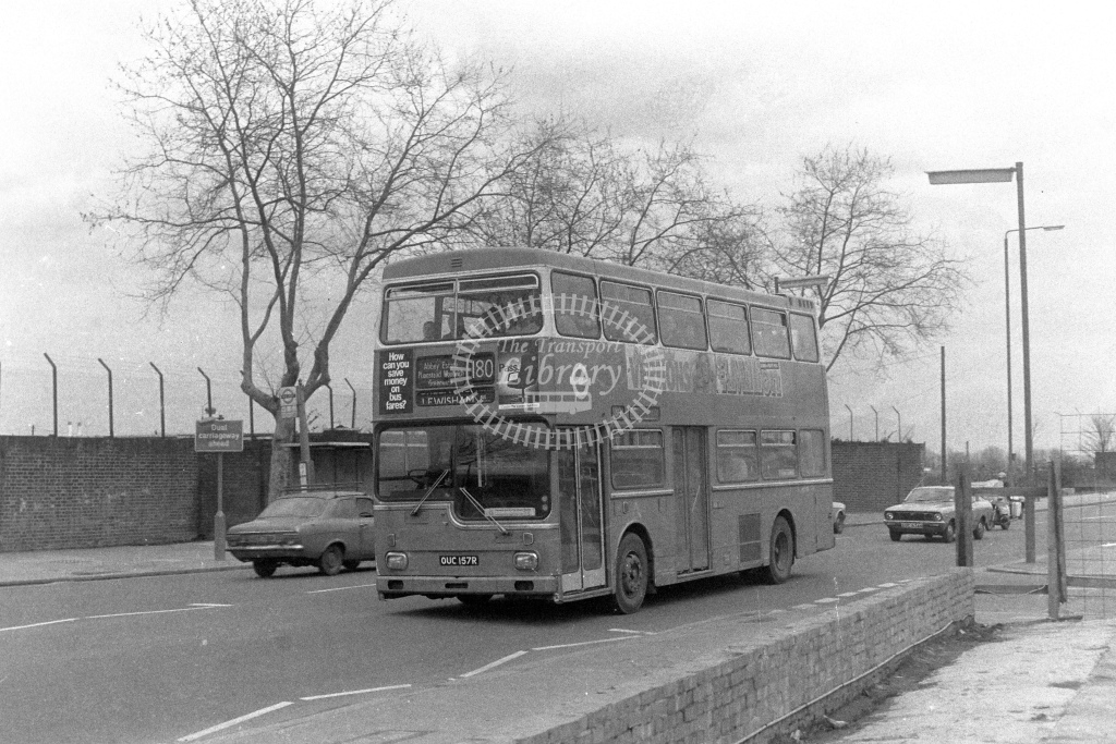 London Transport Scania BR111 MD157  on route 180 OUC157R  at Woolwich  in 1980s - JGS Smith