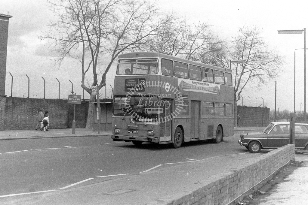 London Transport Scania BR111 MD125  on route 178 OUC125R  at Woolwich  in 1980s - JGS Smith
