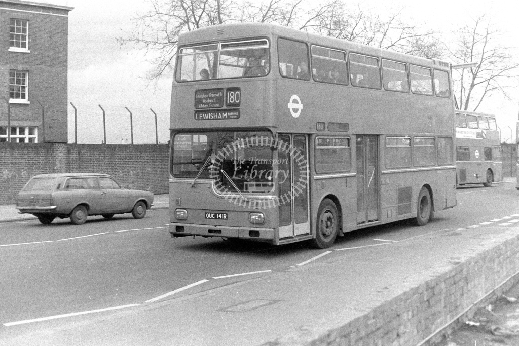 London Transport Scania BR111 MD141  on route 180 OUC141R  at Woolwich  in 1980s - JGS Smith