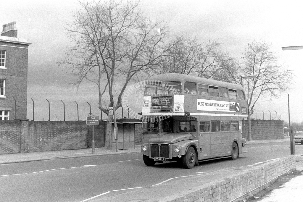 London Transport AEC Routemaster RM1250  on route 180 250CLT  at Woolwich  in 1980s - JGS Smith