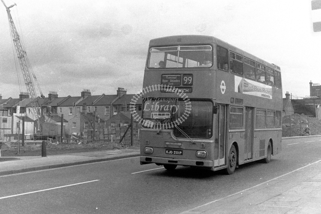 London Transport Scania BR111 MD1  on route 99 KJD201P  in 1980s - JGS Smith