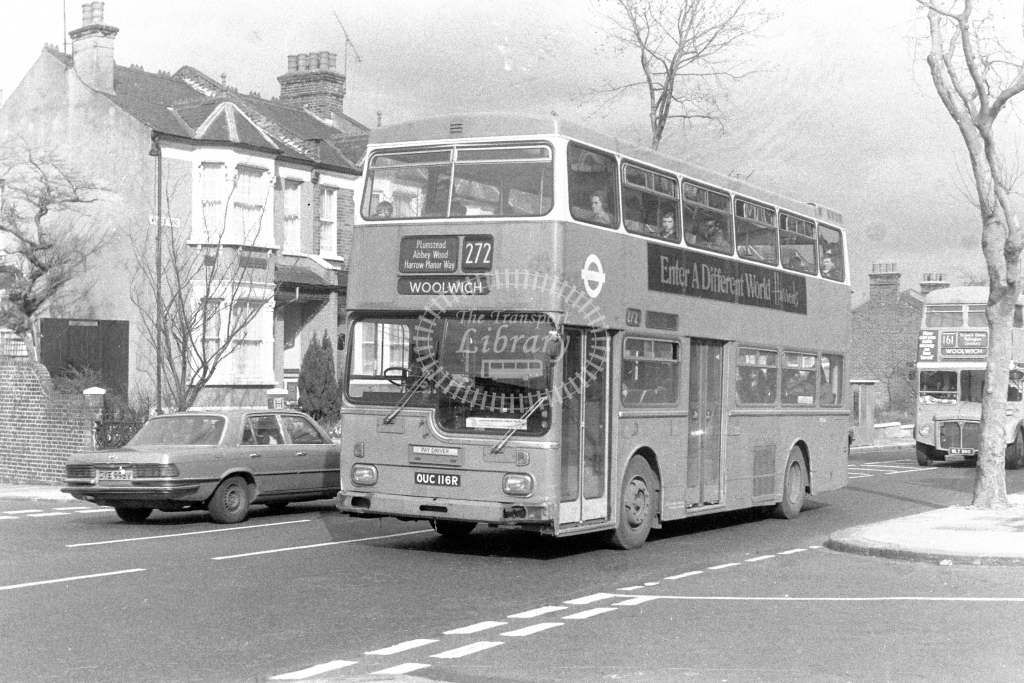 London Transport ScaniaBR111 MD116  on route 272 OUC116R  at Woolwich  in 1980s - JGS Smith