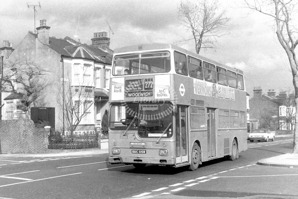 London Transport ScaniaBR111 MD115  on route 272 OUC115R  at Woolwich  in 1980s - JGS Smith