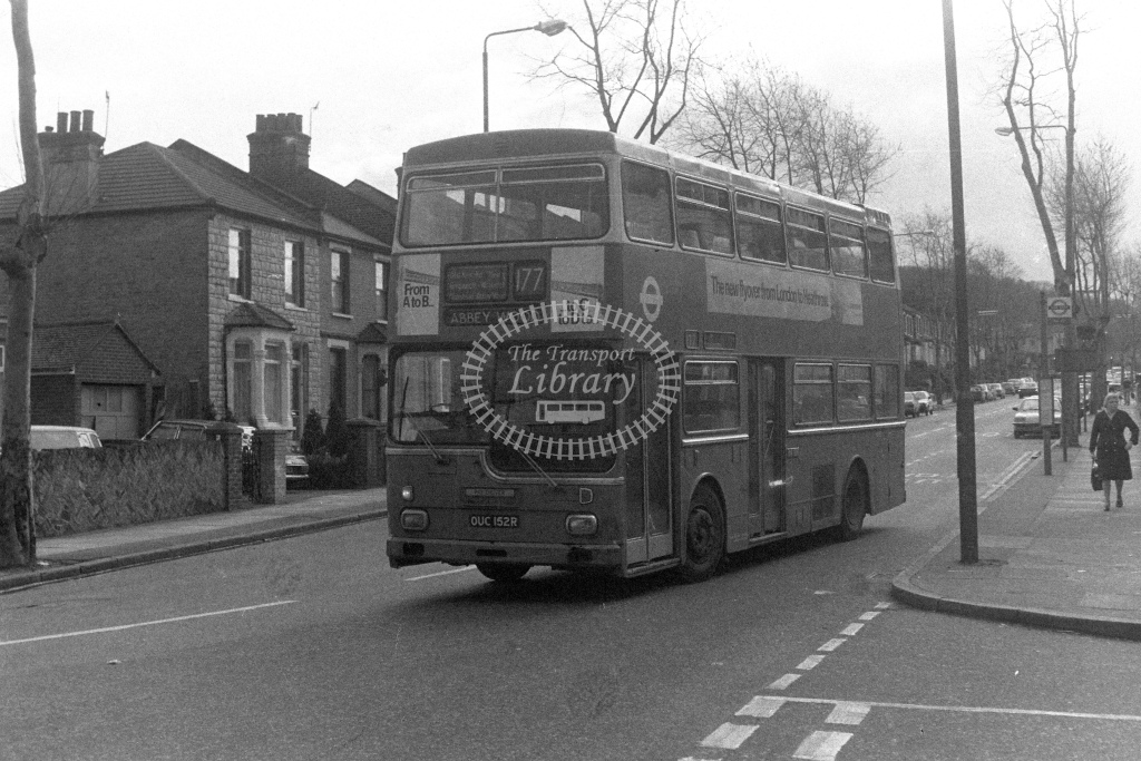 London Transport ScaniaBR111 MD152  on route 177 OUC152R  in 1980s - JGS Smith