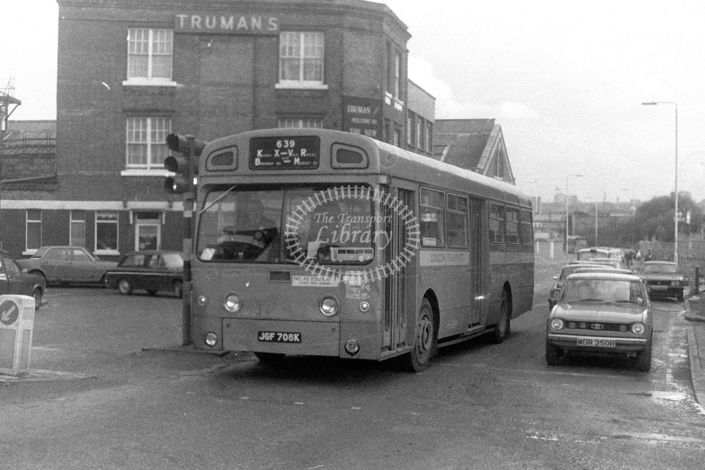 London Transport AEC Swift SMS708  on route 639 JGF708K  at York Way  in 1980s - JGS Smith