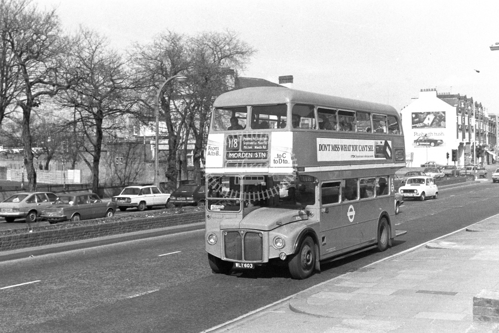 London Transport AEC Routemaster RM603  on route 118 WLT603  in 1980s - JGS Smith
